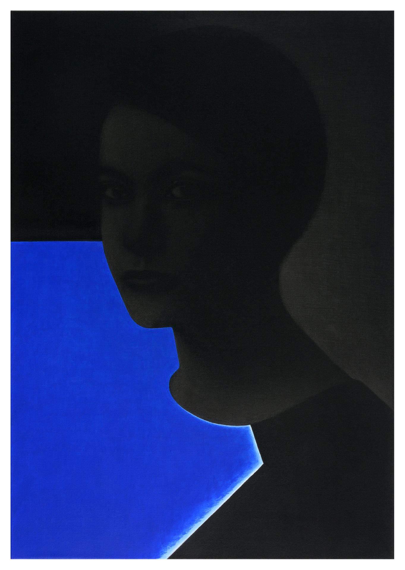 Bertram Hasenauer - Untitled 2019 Acryl und Silberstift auf Leinwand 100 x 70 cm